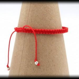 Red Macrame Hematite Bracelet