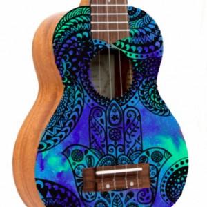 Soprano Galaxy Hamsa Ukulele, Hand Painted Ukulele, Decorated Ukulele, Galaxy Paint, instrument, ukelele, concert, tenor, baritone, guitar
