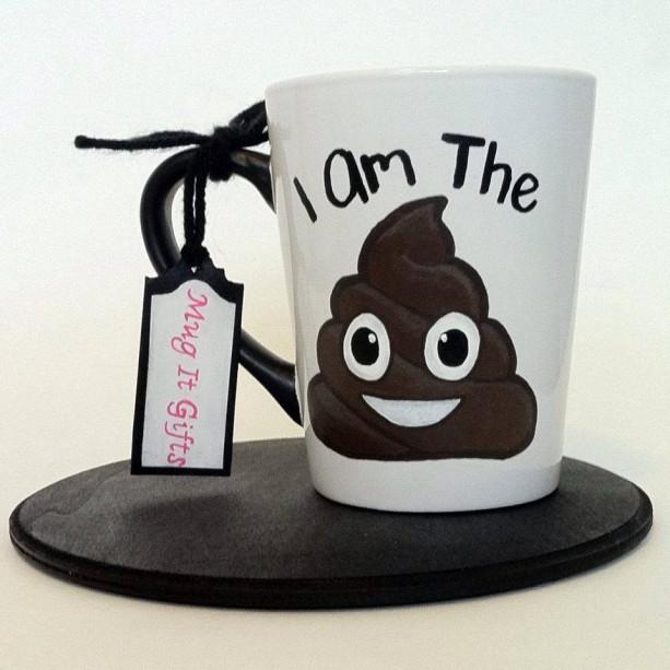 Im The Sh*t Poop Emoji 14 oz Funny Humorous Hand Painted Coffee Cup Mug