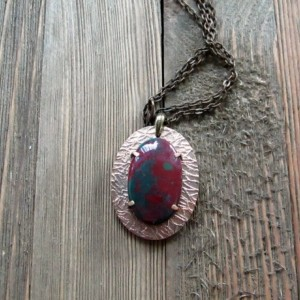 Mostly Red Bloodstone and Bronze Metal Clay Pendant