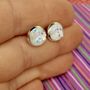 White Druzy Studs, Small, 8mm, Handmade, USA, Silver, Faux Drusy, Posts