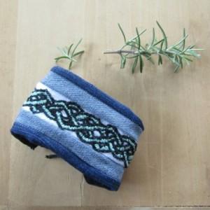 Celtic Denim Hand-Embroidered Wrist Cuff