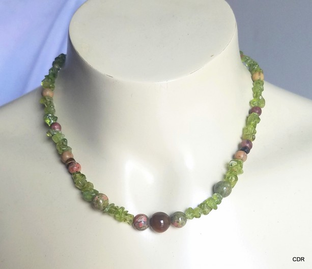 Womens Peridot Ukanite and Tigers Eye Collar Necklace Sterling Silver Findings