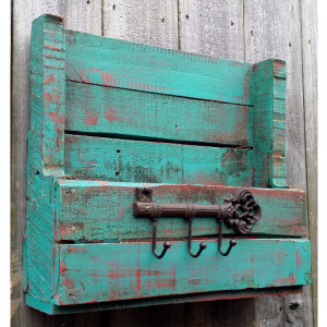 Handcrafted Distressed Reclaimed Wooden Rustic Mailbox Key Holder Shelf Turquoise
