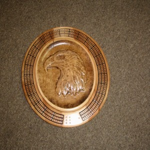Eagle Head 3 track oval cribbage board with storage
