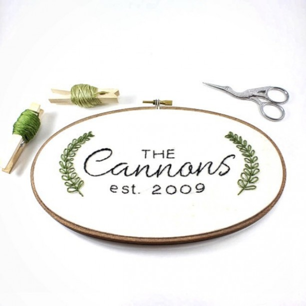 Custom Embroidery, Personalized Hoop Art, Last Name Wall Art, Needlepoint,  Cotton Anniversary