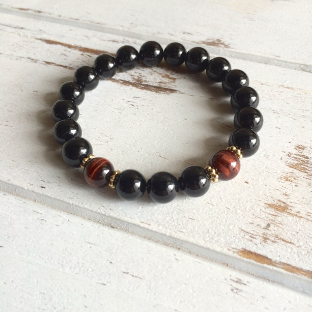 Genuine Black Onyx & Red Tiger's Eye Bracelet w/ Gold Accents~ Integrity, Protection and Willpower