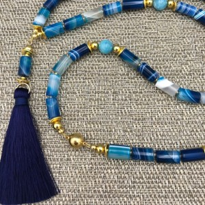 Long Agate Statement Necklace, Tassel Necklace, Long Tassel Necklace, Blue Beaded Necklace, Long Agate Statement, Agate Necklace Long