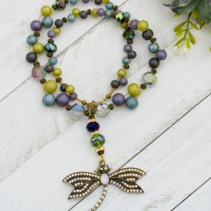 Dragonfly necklace, Dragonfly pendant, Aurora Borealis Necklace, Purple, Green, Blue Necklace