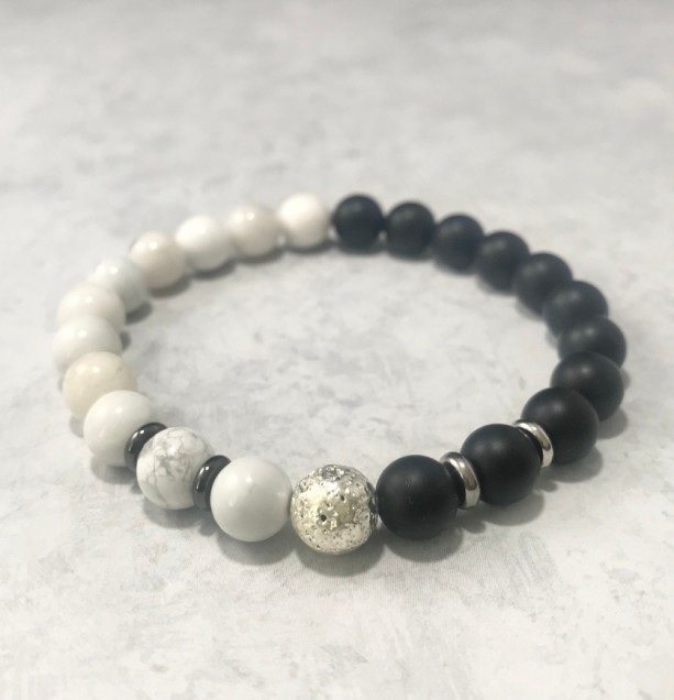 The Akira | handmade beaded stretch bracelet, howlite, zebra jade, matte onyx agate, stainless steel, men's / unisex jewelry, Gifts for Him