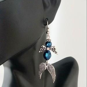 Angel With Angel Wings Dangle Earrings