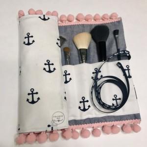 Navy White & Denim Anchor Makeup Brush Roll Case with Pink Pom Pom Trim
