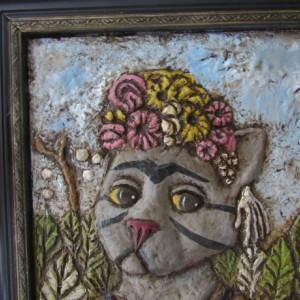 2 dimensional paper mache  Frida Catlo cat art Frida Kahlo parody