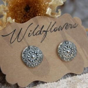 Ornate Metal Button Stud Earrings