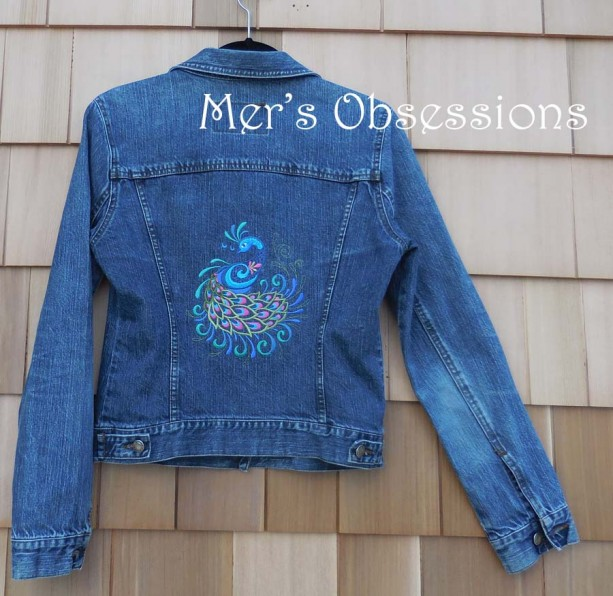 Women's Denim Jacket with Embroidered Peacock