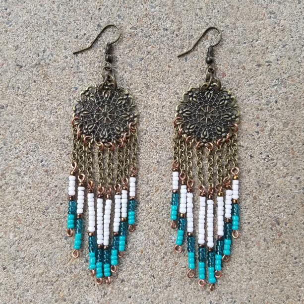 Dream catcher earrings in aqua and white