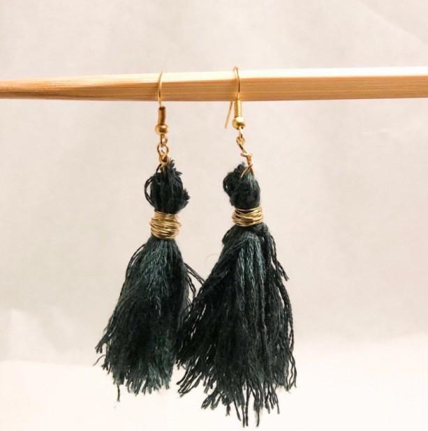 tassel green/gold goddess earrings