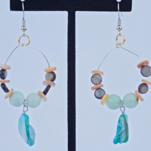 Boho bohemian style river shell with amazonite and white shell rondelles dangle dangly hoop earrings/Nickel free fish hook