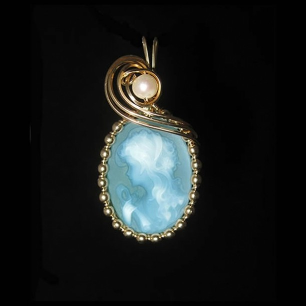 Young Girl Cameo in 14kt Gold-filled Wire Wrapped Pendant