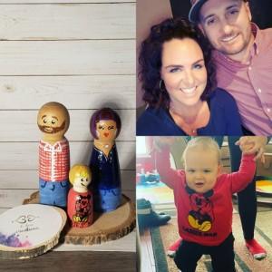 Personalized Wooden Peg  Family dolls:Custom play dolls Custom child dolls Personalized family portrait dolls, Custom Wooden Peg dolls, gift