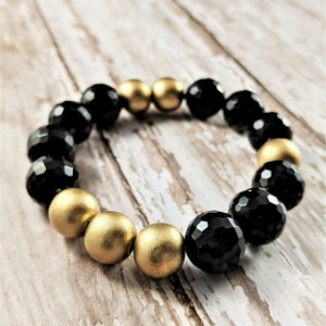 The Anubis | handmade onyx agate and painted wood stretch bracelet, faceted black agate, gold wooden beads, black and gold, Gifts for Her