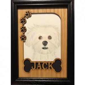 5x7 Personalized Dog Frame Picture Frame - Bone & Paw Prints