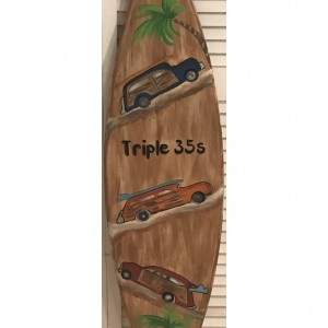 5FT wood Surf Surfboard beach pool hand painted wall art sign personalized FREE
