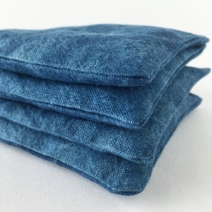 Balsam Fir Sachets in Indigo Dyed Linen - Set of 2