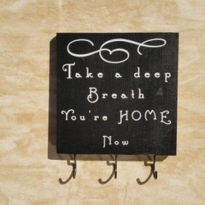 Handmade wooden sign - key holder sign - entryway sign - rustic home decor - wooden sign - newlywed gift - home organization - black & white