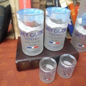 Grey Goose Bottle Upcycled Glass Set 2 tumblers+2 shotglasses