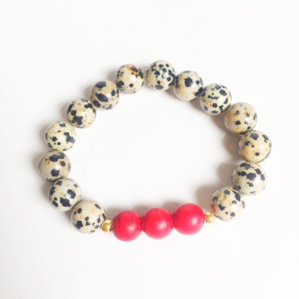 Red and Dalmation Jasper Bracelet