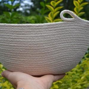 coiled rope basket - large oval basket
