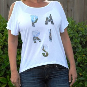 Handmade printed tee, t-shirt, top Paris photo word top with cold shoulder cutouts and a loose fit