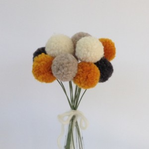 Pom Pom Flowers, Grey Cream Marigold and Oatmeal PomPom Flower Bouquet