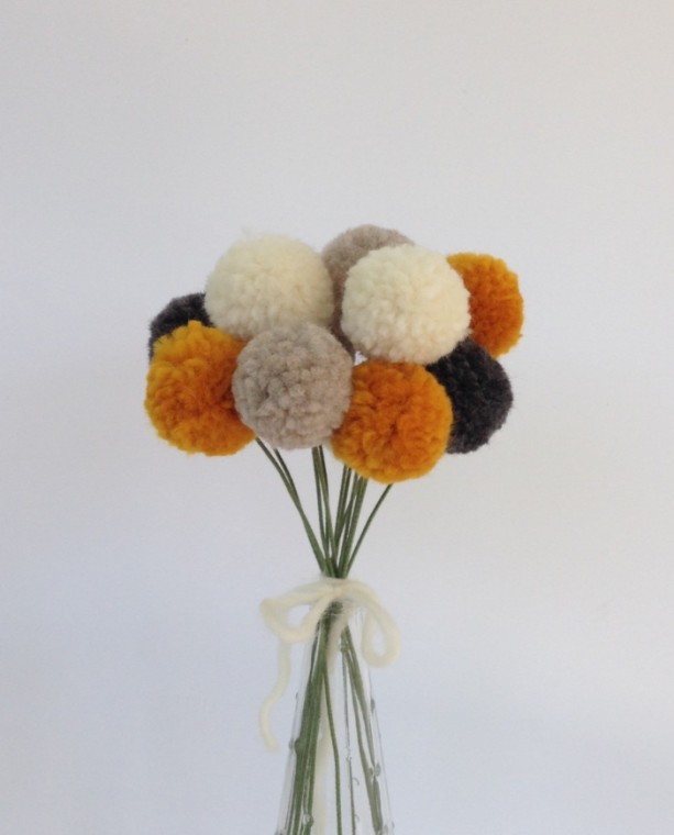 Pom pom flowers pompom flower bouquet aftcra pom pom flowers grey cream marigold and oatmeal pompom flower bouquet mightylinksfo