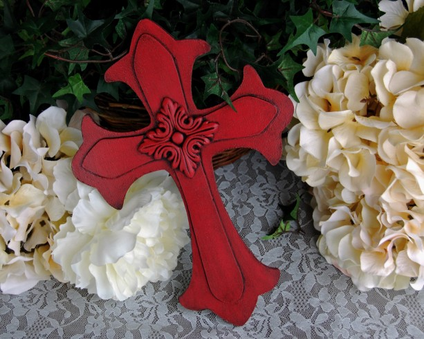 Country farmhouse decor, Red wood cross, Decorative wall cross, Red wall decor, Christian home decor, Wall collage decor, Housewarming gift