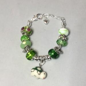 Green European Charm Bracelet with turtle charm