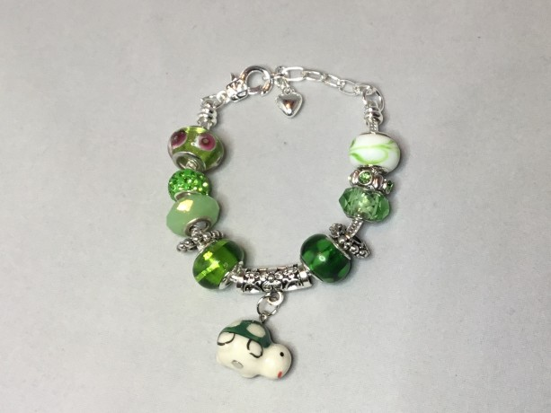 Green European Charm Bracelet with turtle charm