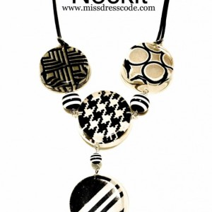 Stripes Houndstooth and Chevron Print Fabric in Resin Statement Necklace Set