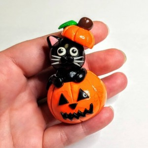 Polymer Clay Black Cat in a Pumpkin Home Decor