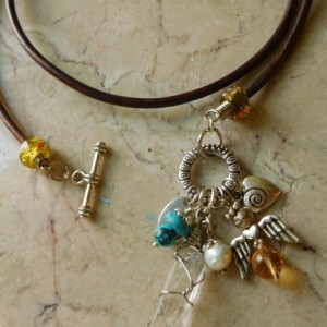 Brown leather Necklace with Quartz pendant and charms beads,  #N00138