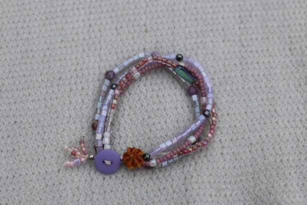 Vintage button boho bracelet, layer bracelet,hemp bracelet. purple, pink bracelet