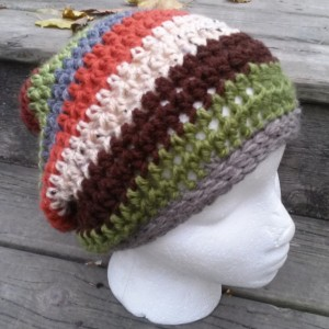 Womens/Teens Multi Stripe Slouch Hat