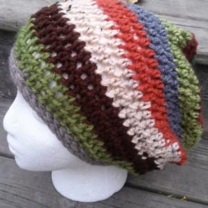 Womens/Teens Multi Stripe Slouch Hat