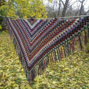 Crocheted Scrap Granny Shawl