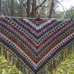 Crocheted Scrap Granny Shawl