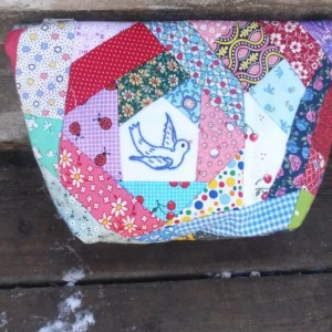 Bluebird Embroidered Patchwork Zipper Pouch