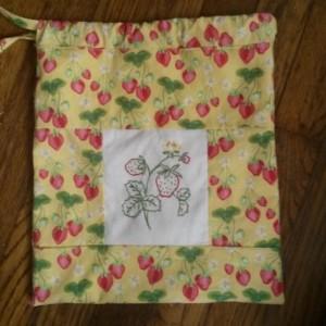 Hand Embroidered Strawberry Storage Bag