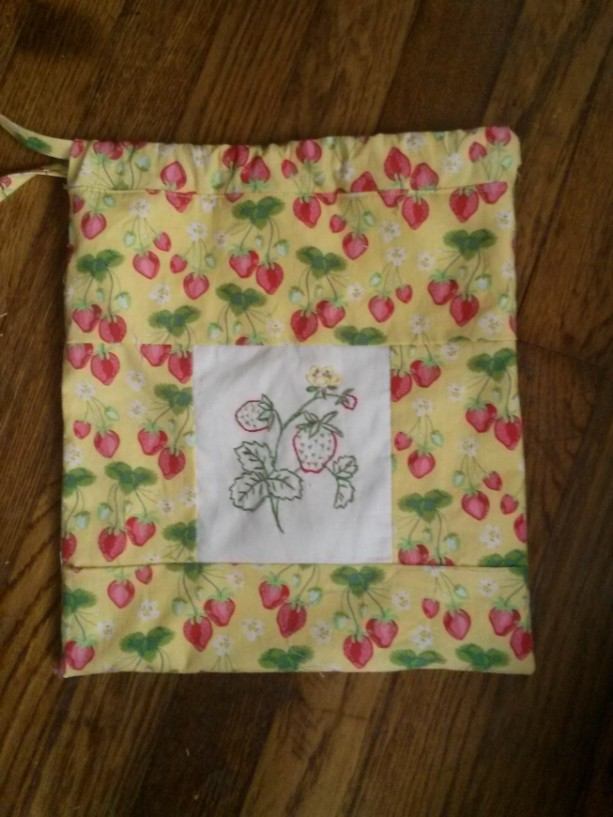 Hand Embroidered Strawberry Storage Bag