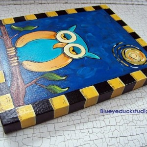 Starry Starry Night Owl Folk ART Painting on canvas Ready to Hang Whimsy